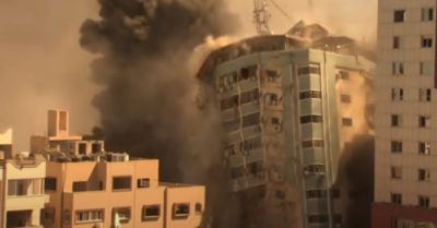 Israeli airstrike destroys building housing Hamas terrorists and news media offices, journalists condemn