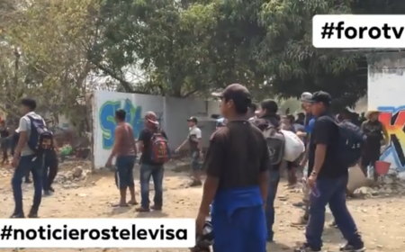 Migrants attacking federal police in southern Mexico