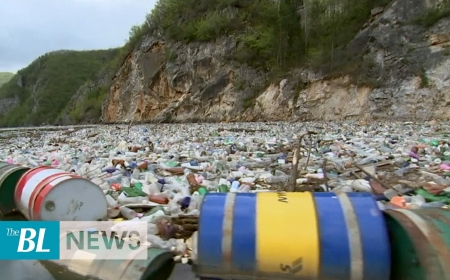 Trash clogs the once crystal clear Bosnia rivers