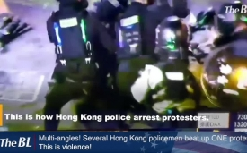Multi-angles! Several Hong Kong policemen beat up ONE protester. This is violence!