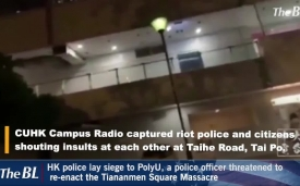 Hong Kong police lay siege to PolyU, a police officer threatened to re-enact the Tiananmen Square Massacre