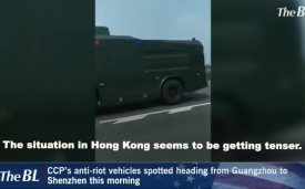CCP's anti-riot vehicles spotted heading from Guangzhou to Shenzhen this morning
