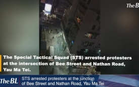 STS arrested protesters at the junction of Bee Street and Nathan Road, Yau Ma Tei.